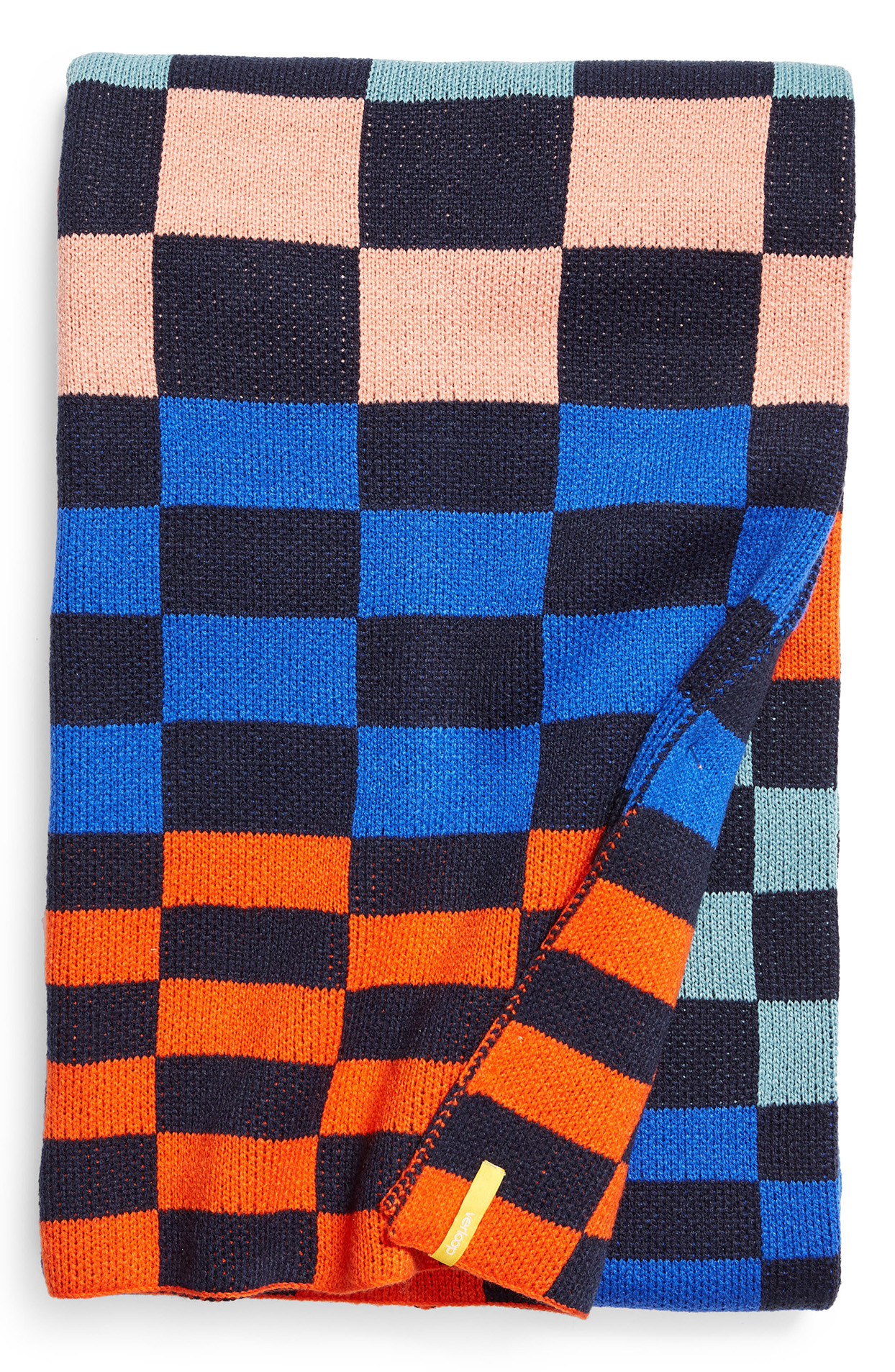 multicolored checkered knit throw blanket