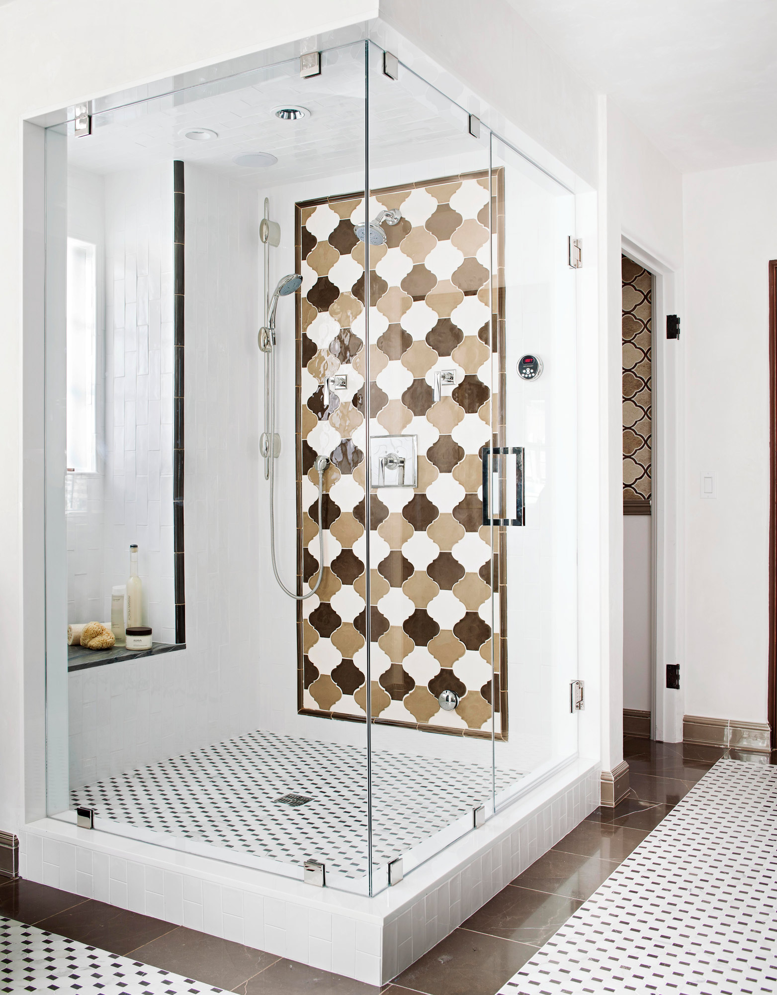 shower with black beige white accent wall and window seat