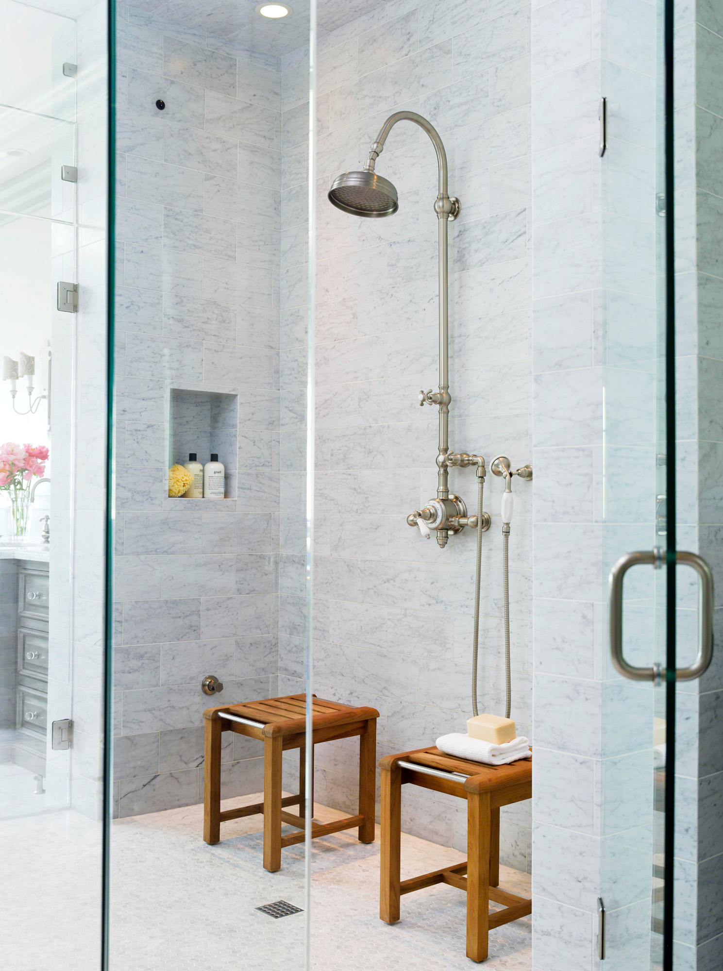 Two Person Shower Room with wooden stools