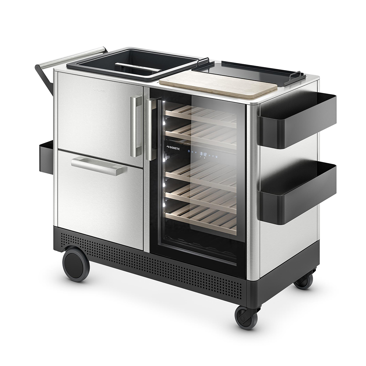 mobile bar cart with refrigerated area and serving station