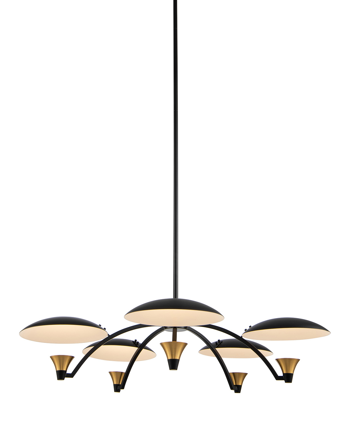 modern chandelier with black shades and brass accents