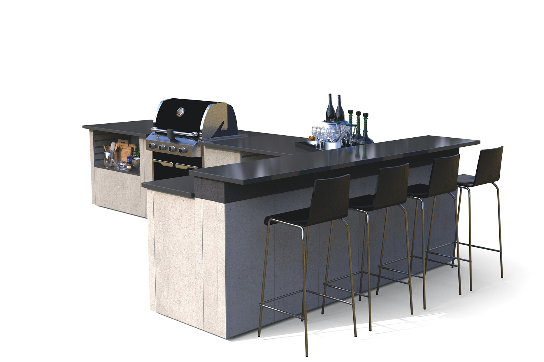 modular outdoor kitchen with concrete panels