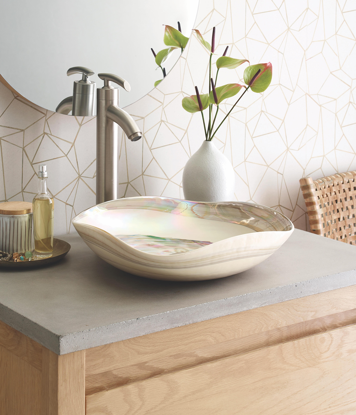 glass vessel bathroom sink with curved shape