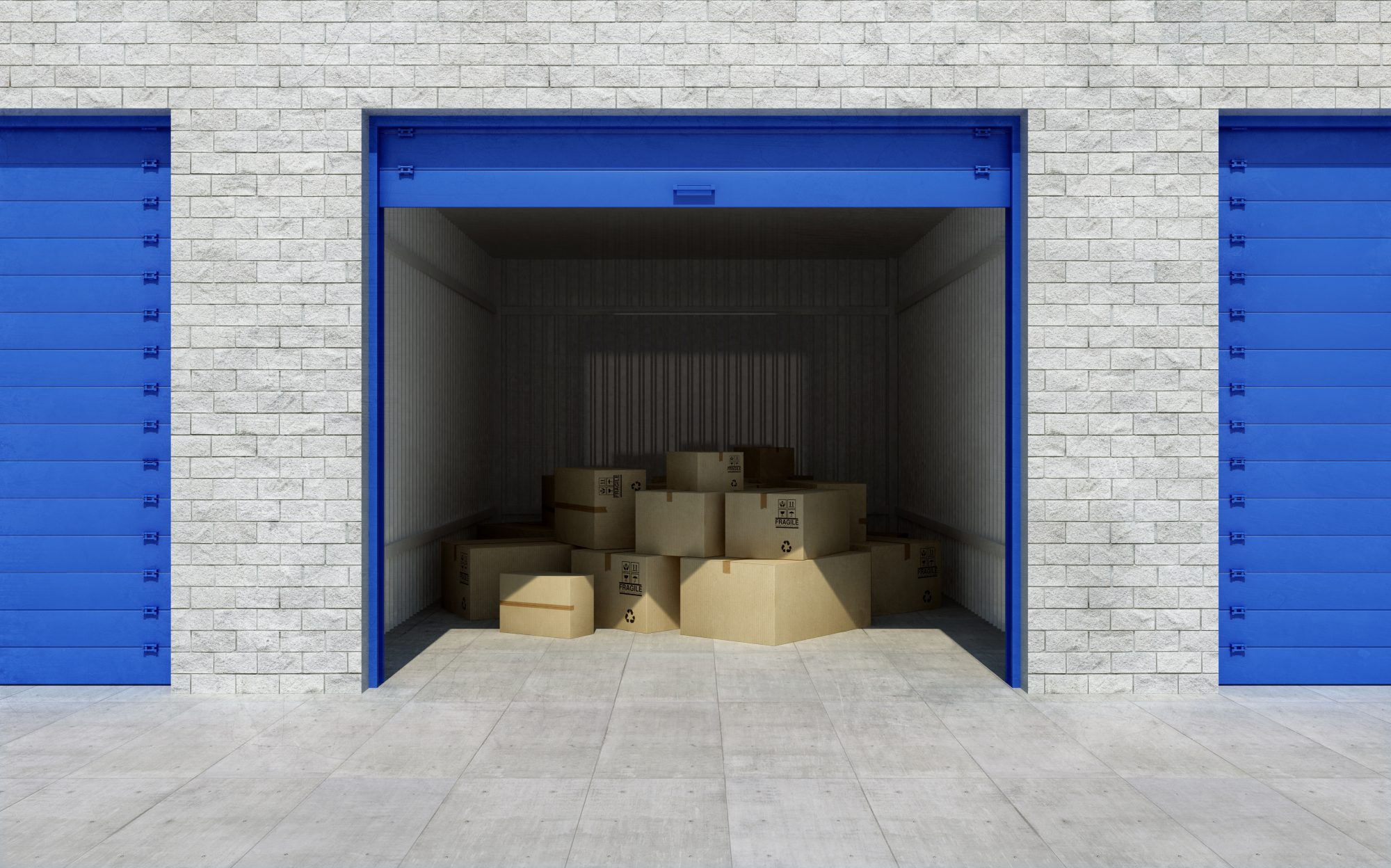 Storage unit with boxes inside of it
