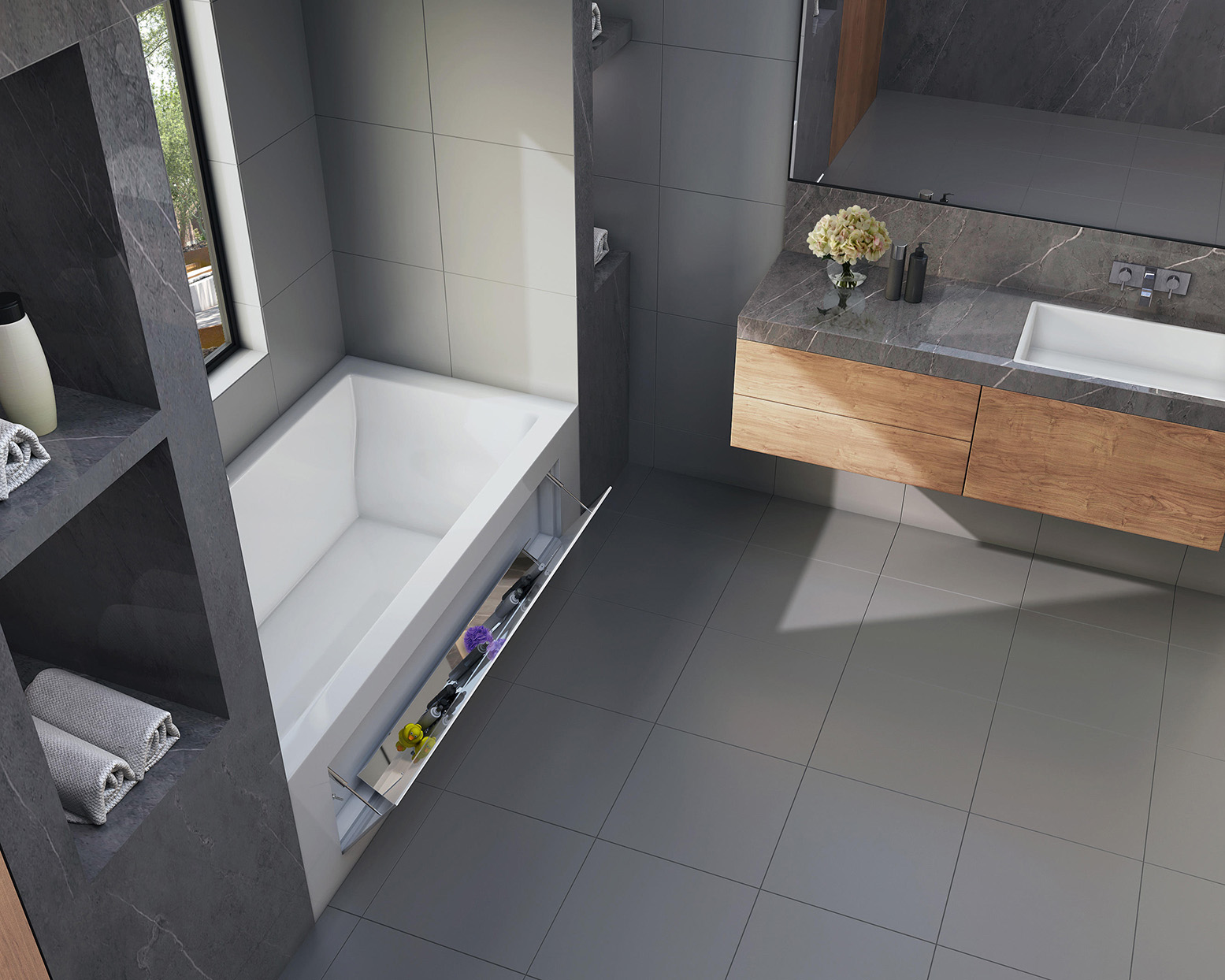 contemporary bathtub with tilt-out storage panel