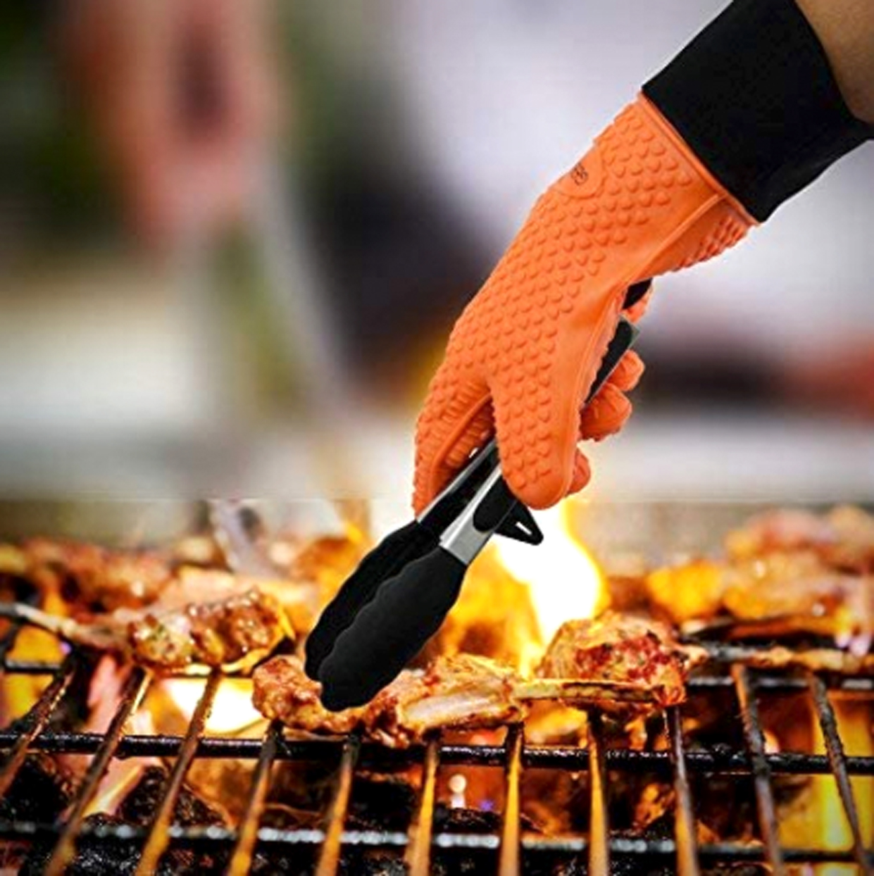 Grilling gloves on a hot grill