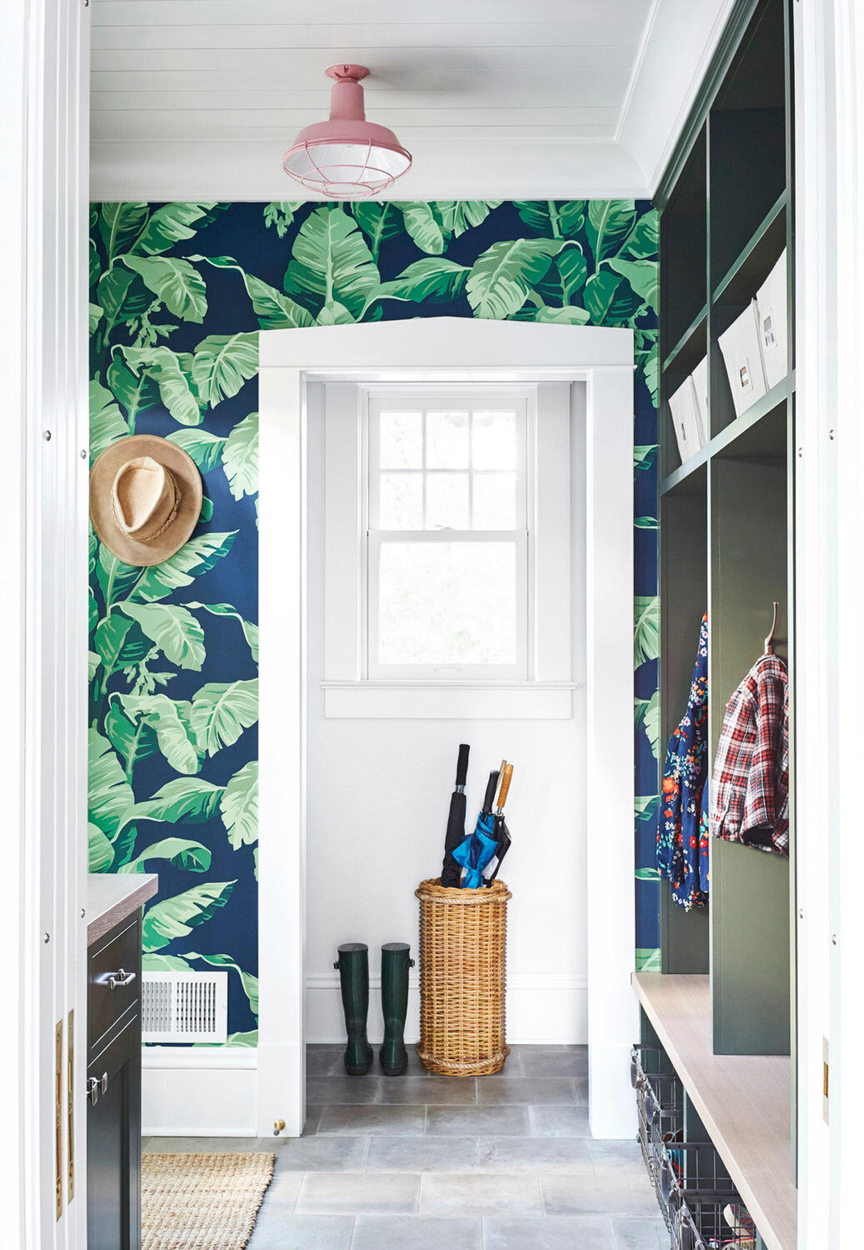 entryway with botanical wallpaper