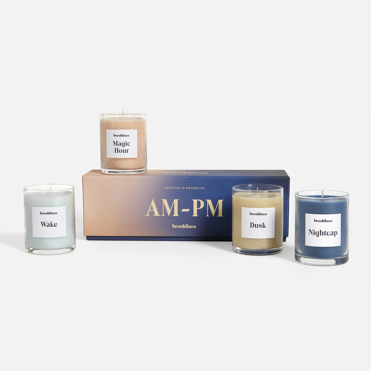candles and packaging for Brooklinen candles