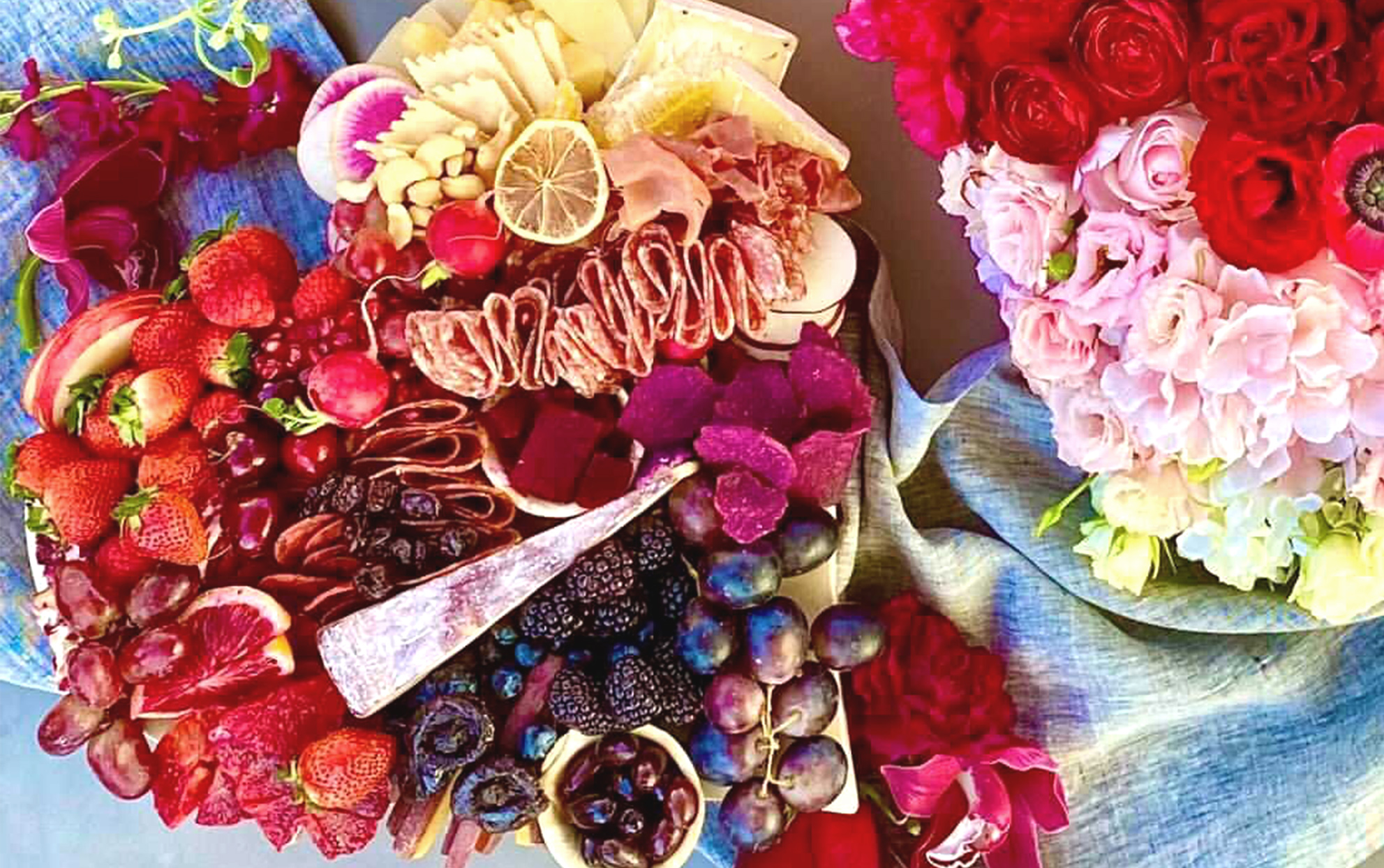 ombre charcuterie and flowers