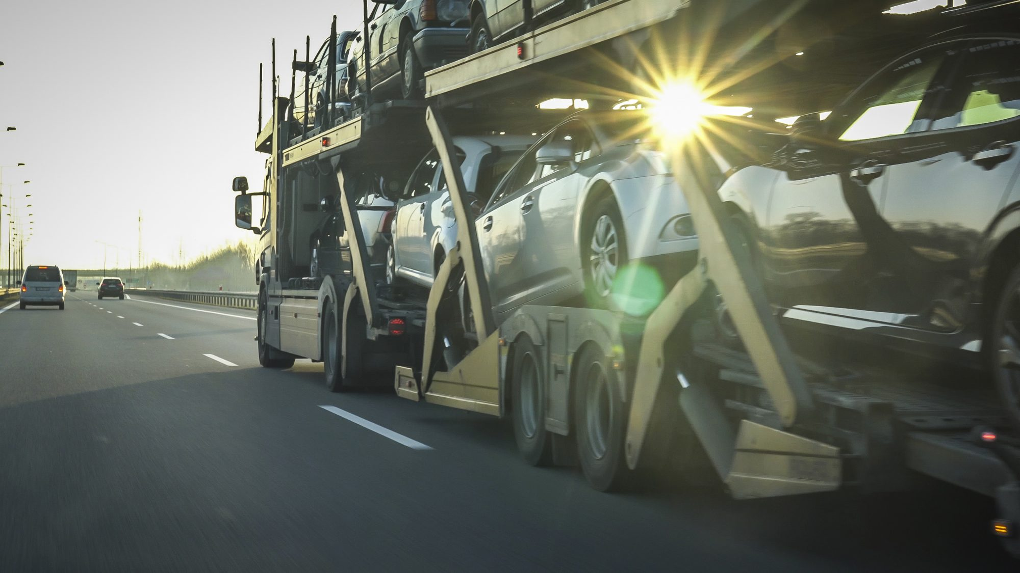 Car transporter trailer loaded with cars