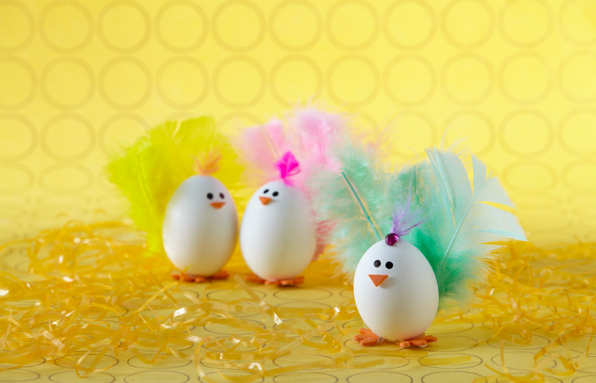 easter egg chicks on yellow confetti