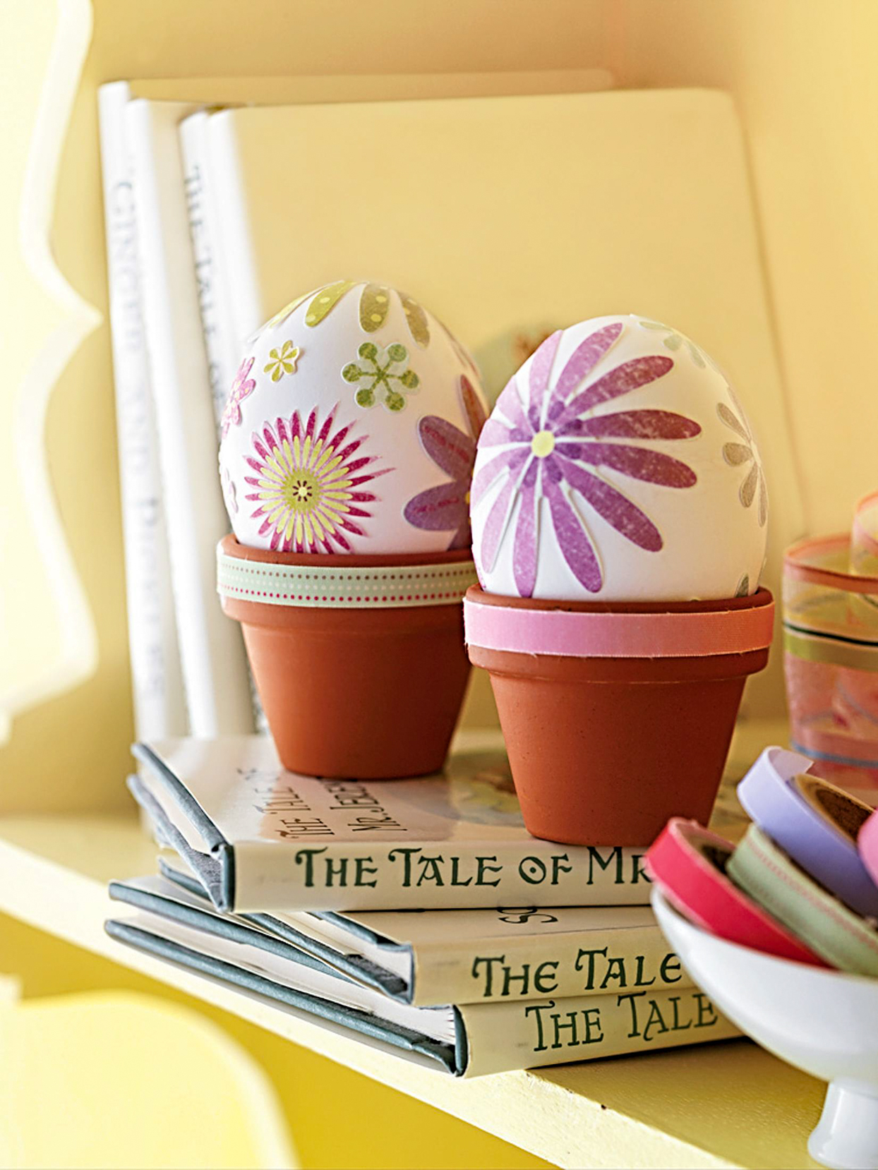 floral easter eggs in small planters