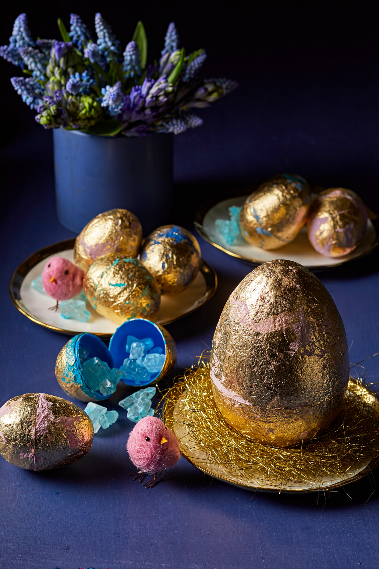 gold leaf easter eggs with crystals inside