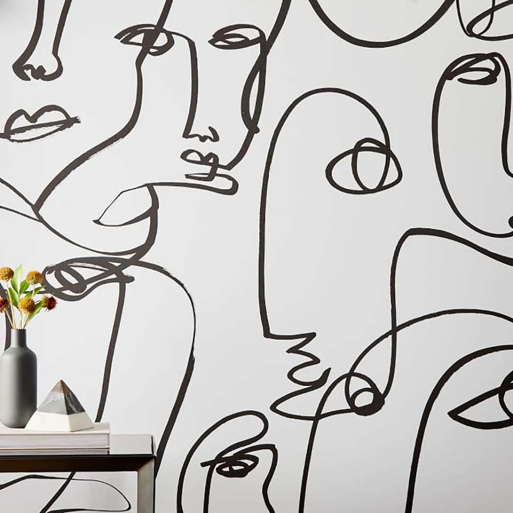 black and white wallpaper with abstract face design