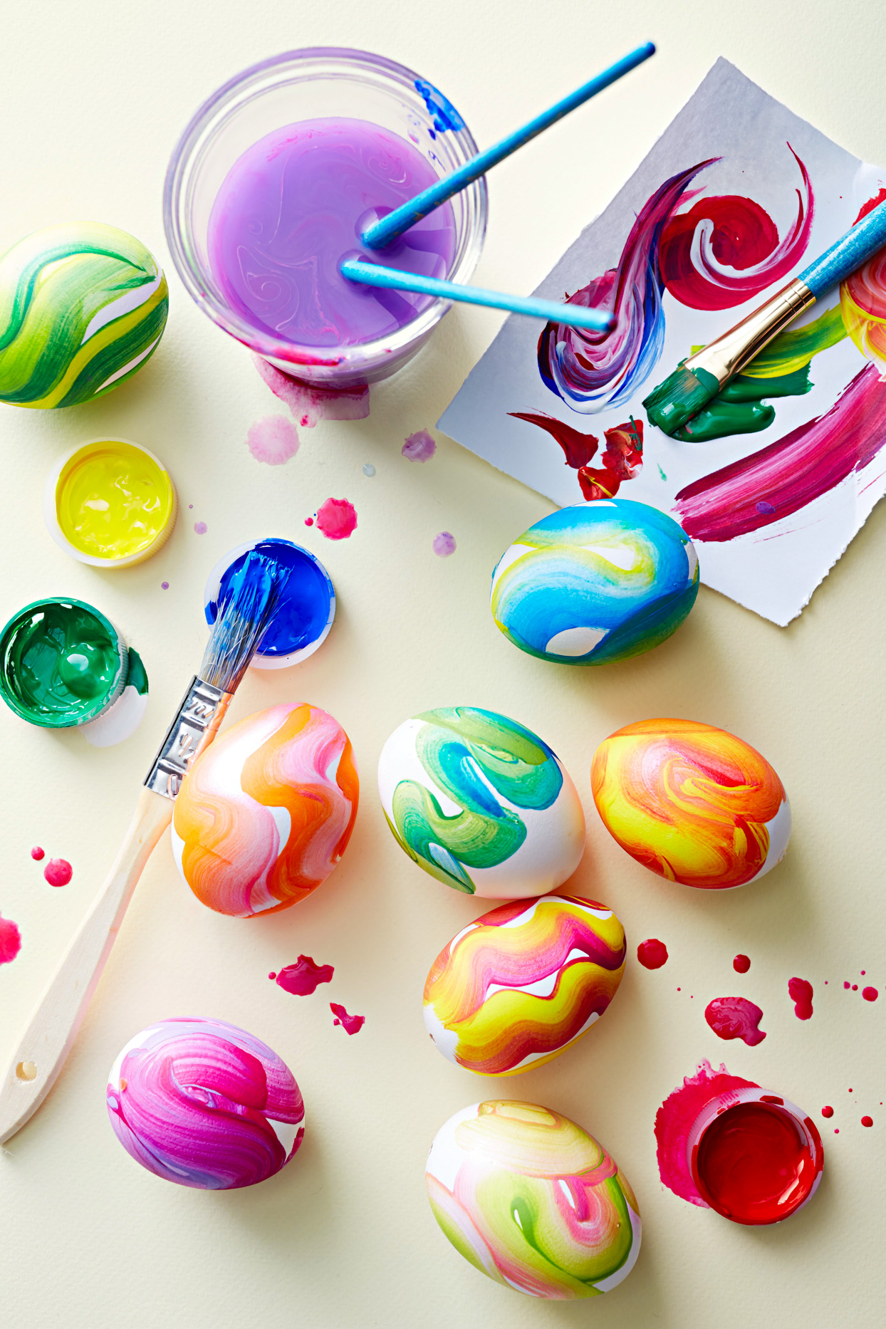 painted easter eggs with brushes