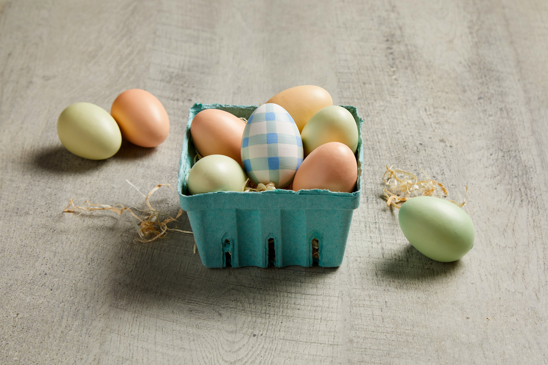 pastel easter eggs and blue buffalo check
