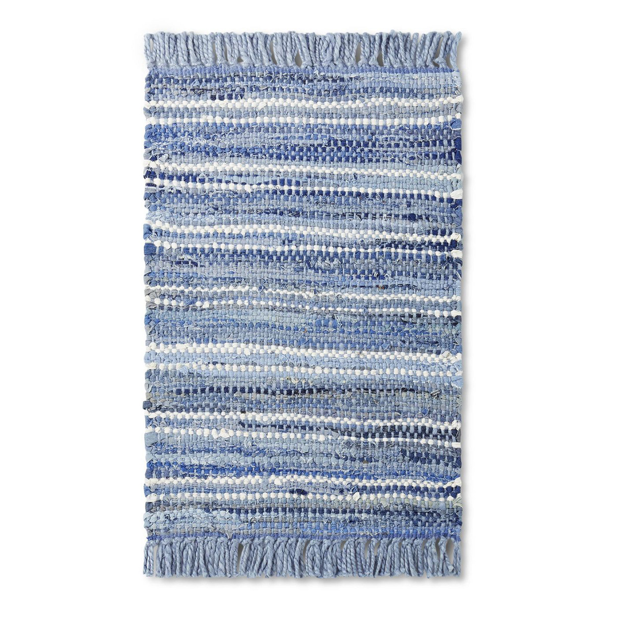 blue striped woven rug