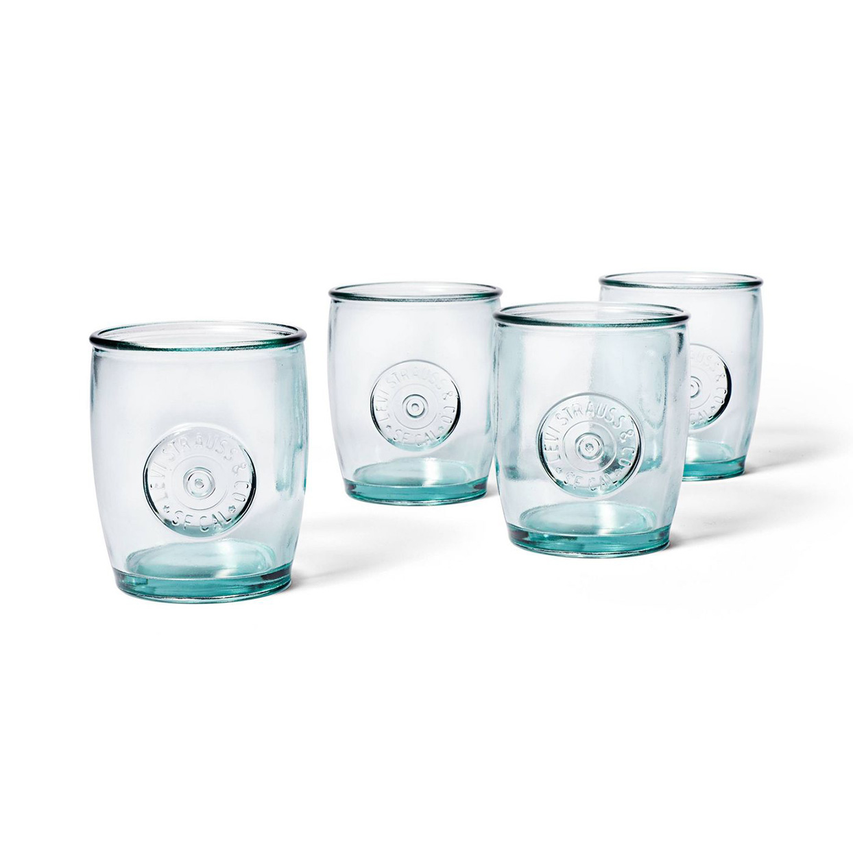 four glasses with levis logo