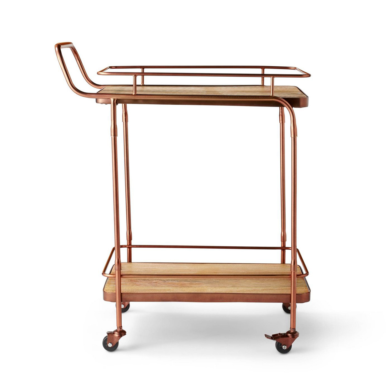 wood and copper rolling bar cart