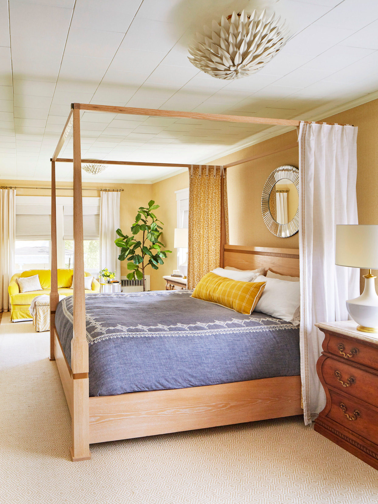 cheery bedroom with four poster bed