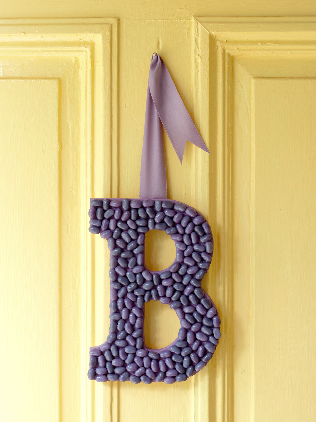 Purple Jelly Bean B Monogram Door Decor