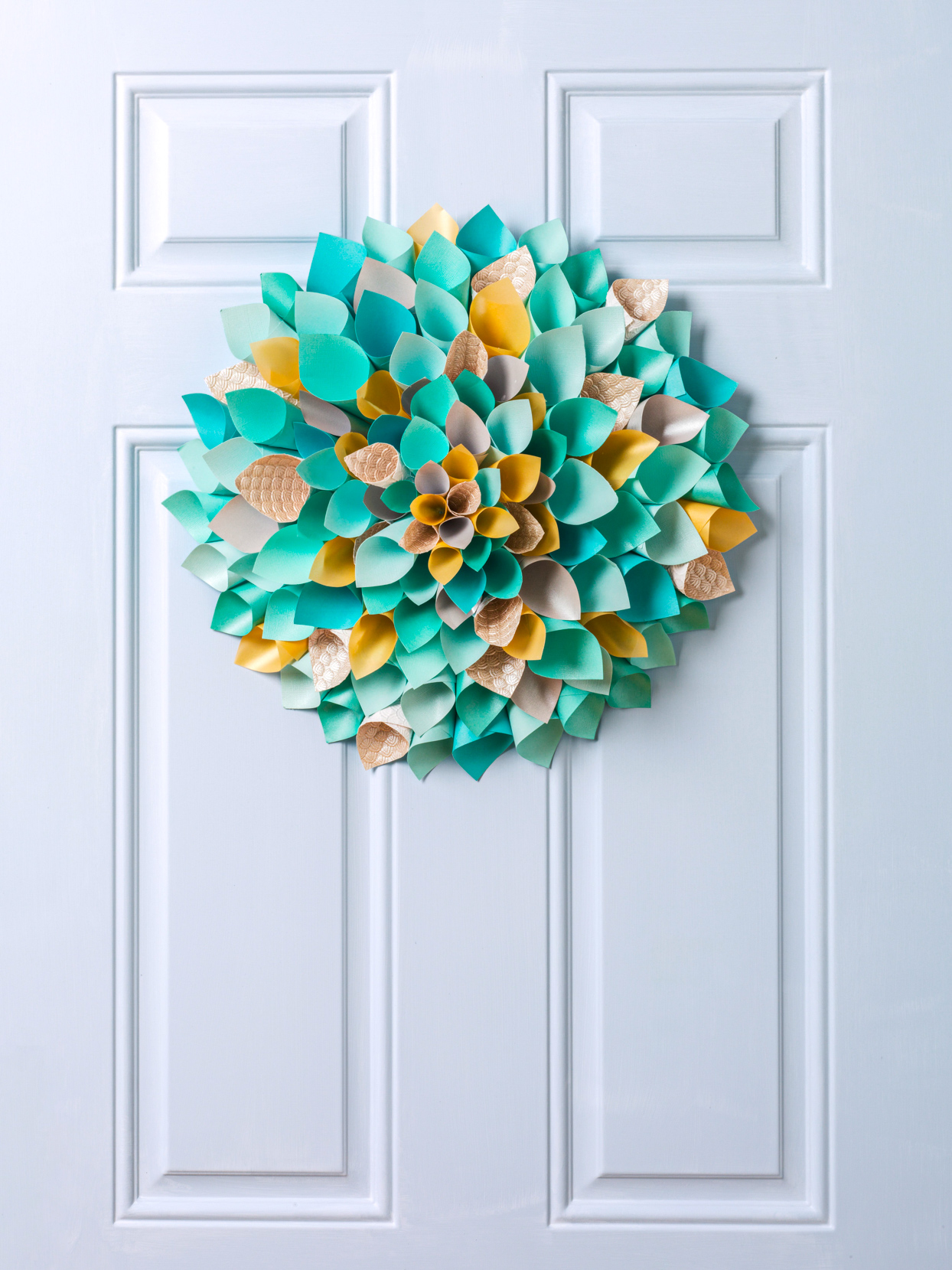 Teal Gold Scrapbooking Paper Easter Wreath