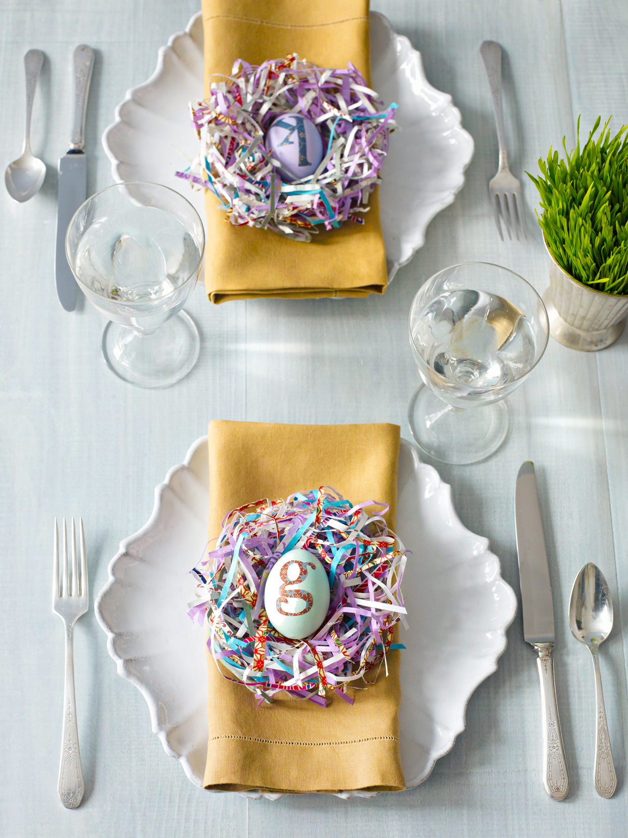 Easter place setting paper-strip nest monogram egg