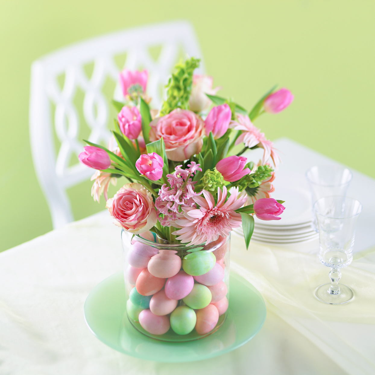 pink green flower Easter egg centerpiece