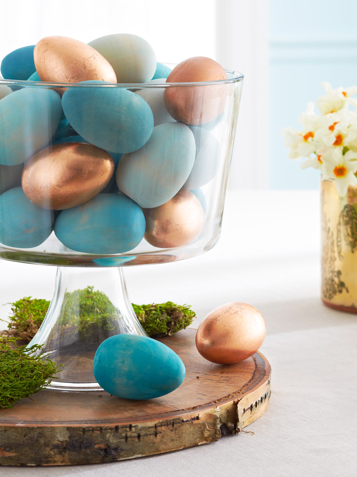 teal rose gold eggs trifle dish Easter centerpiece