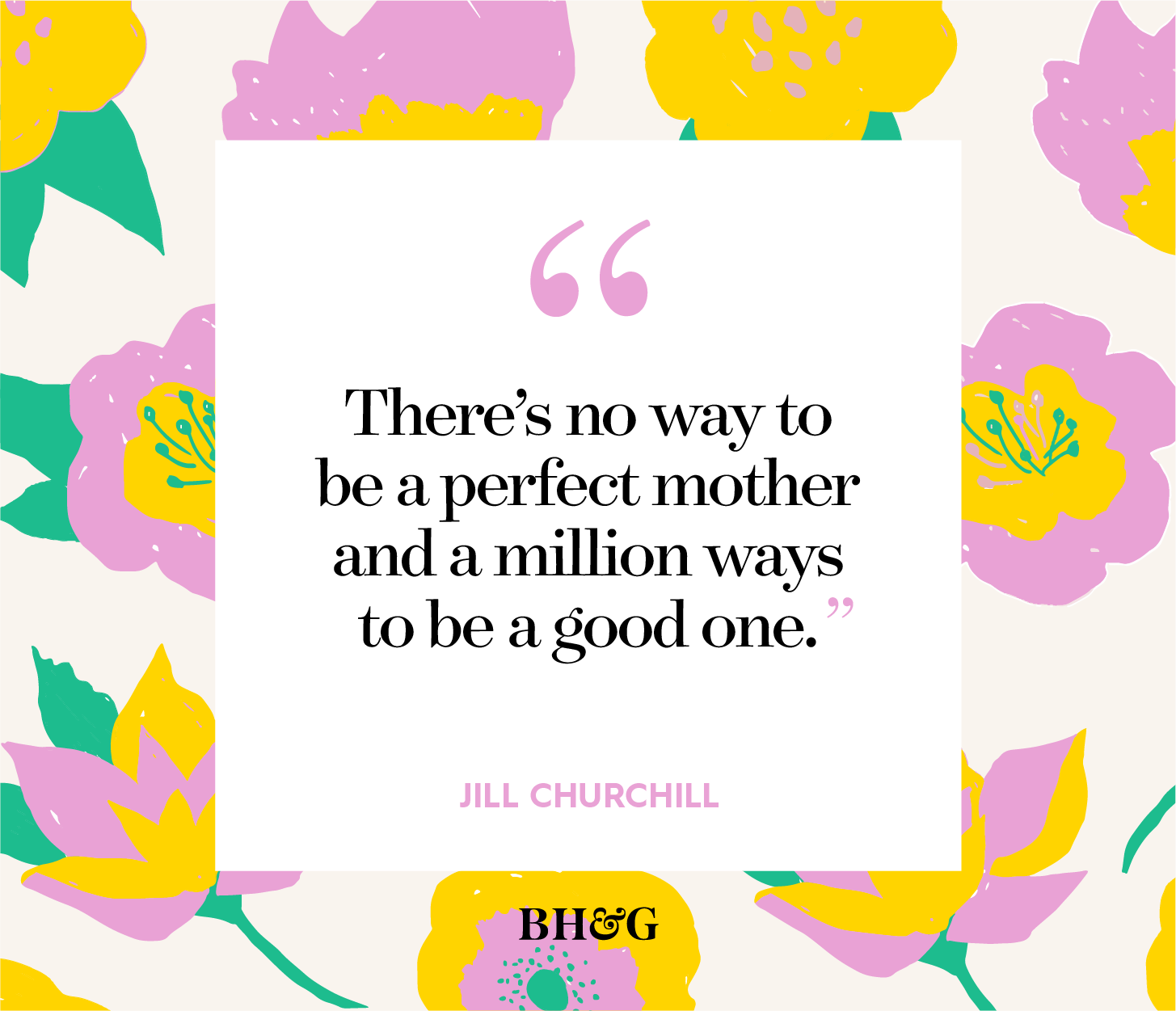 mother's day quote in black text on pink floral background
