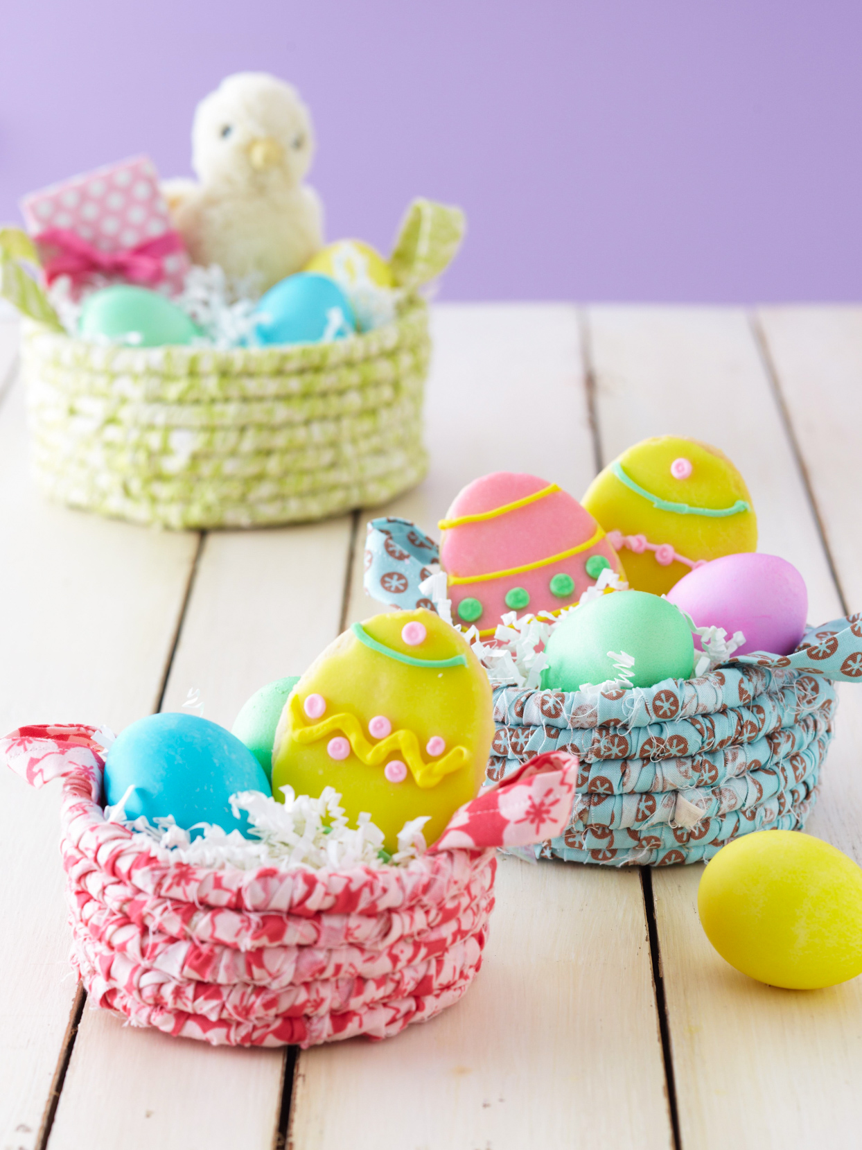 DIY colorful coiled fabric Easter baskets