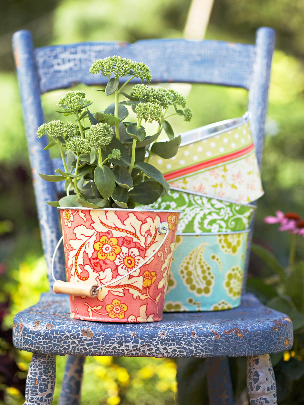 fabric-wrapped decoupaged tin pots planters