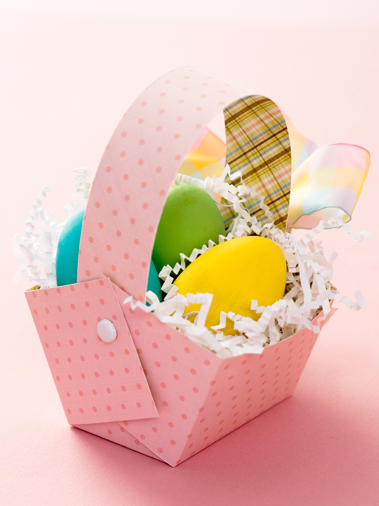 pink dotted paper Easter basket eggs