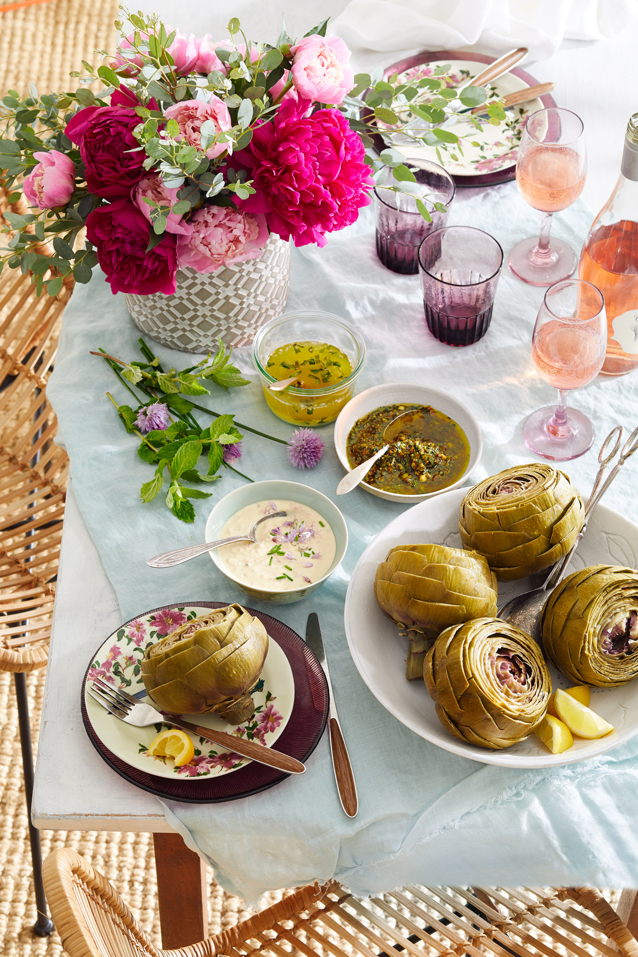 Steamed Artichokes with Dipping Sauces