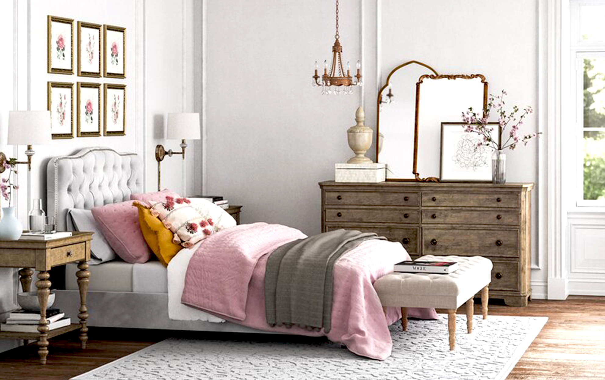 Bedroom with pink bedding and mirrors on a dresser