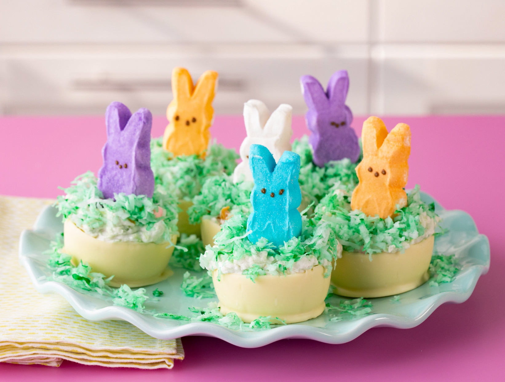 easter fluff dessert cups with peep bunnies