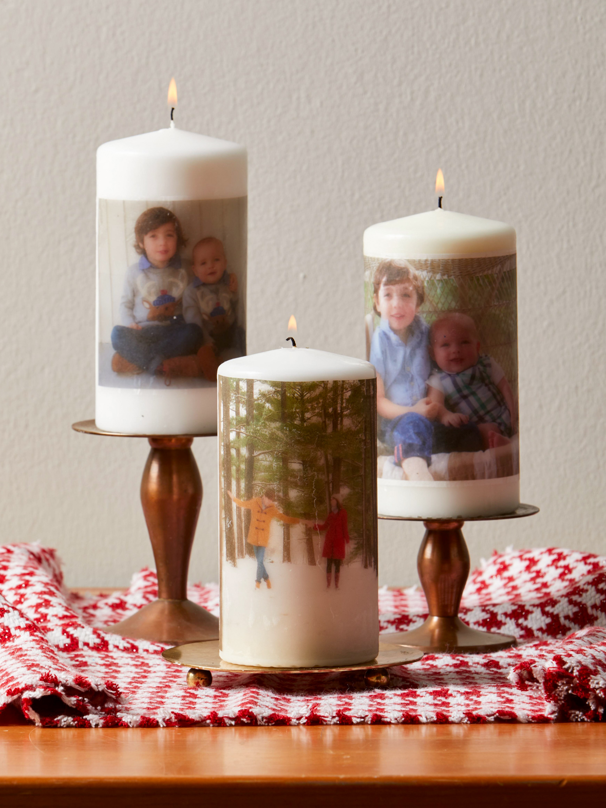 three personalized photo candles