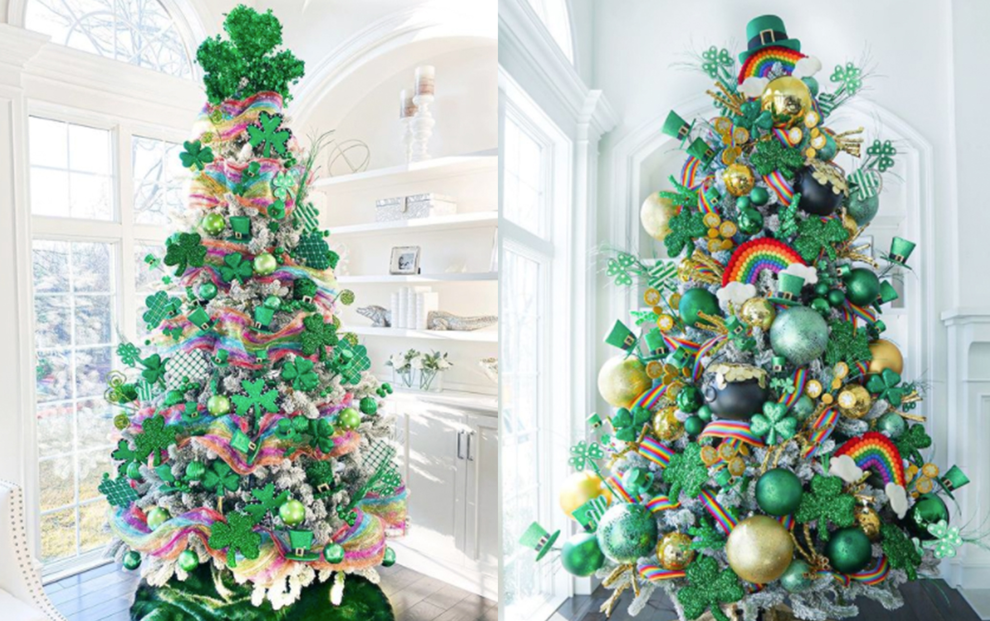 Two St. Patrick's Day trees side by side