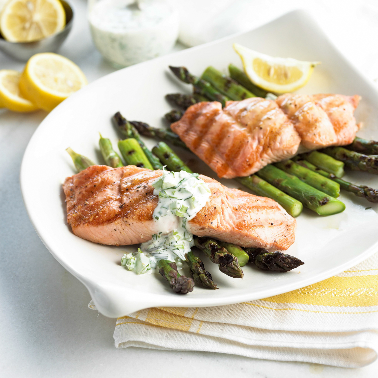 Grilled Salmon with Garden Mayonnaise