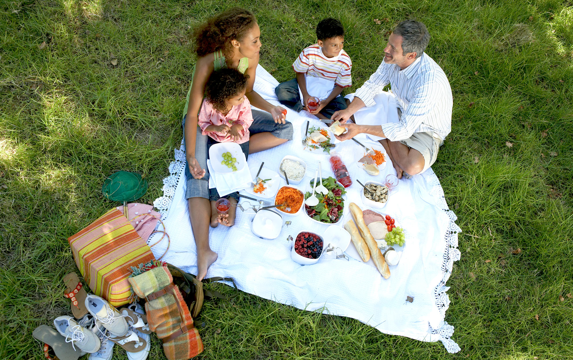 Ethnic family picnicking on a blanket in the grass