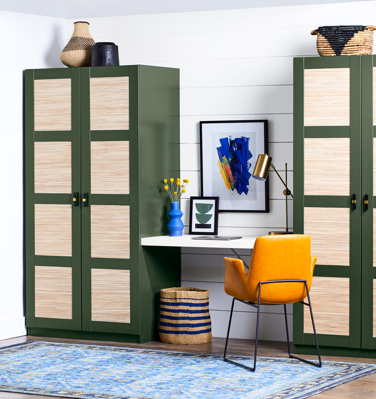 workspace with olive green cabinets
