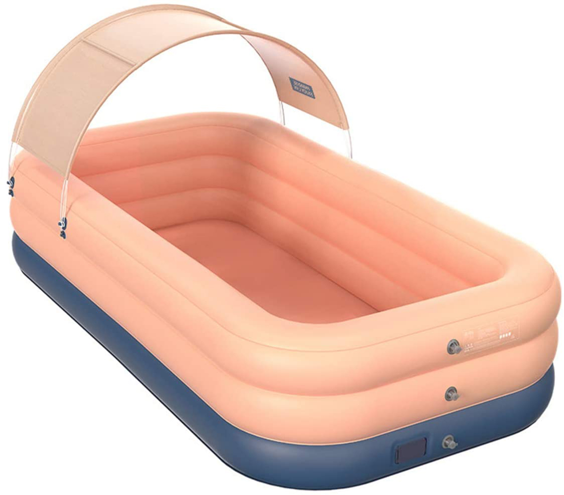 rectangular inflatable pool with sun shade