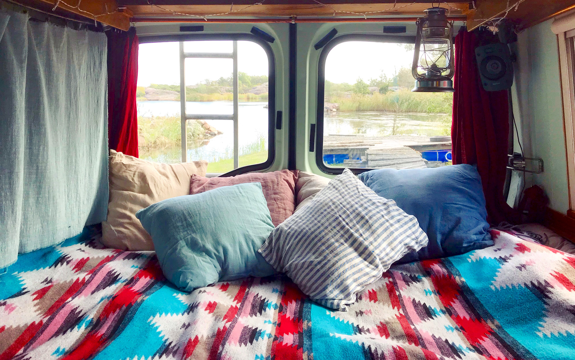 A bed in an RV vehicle