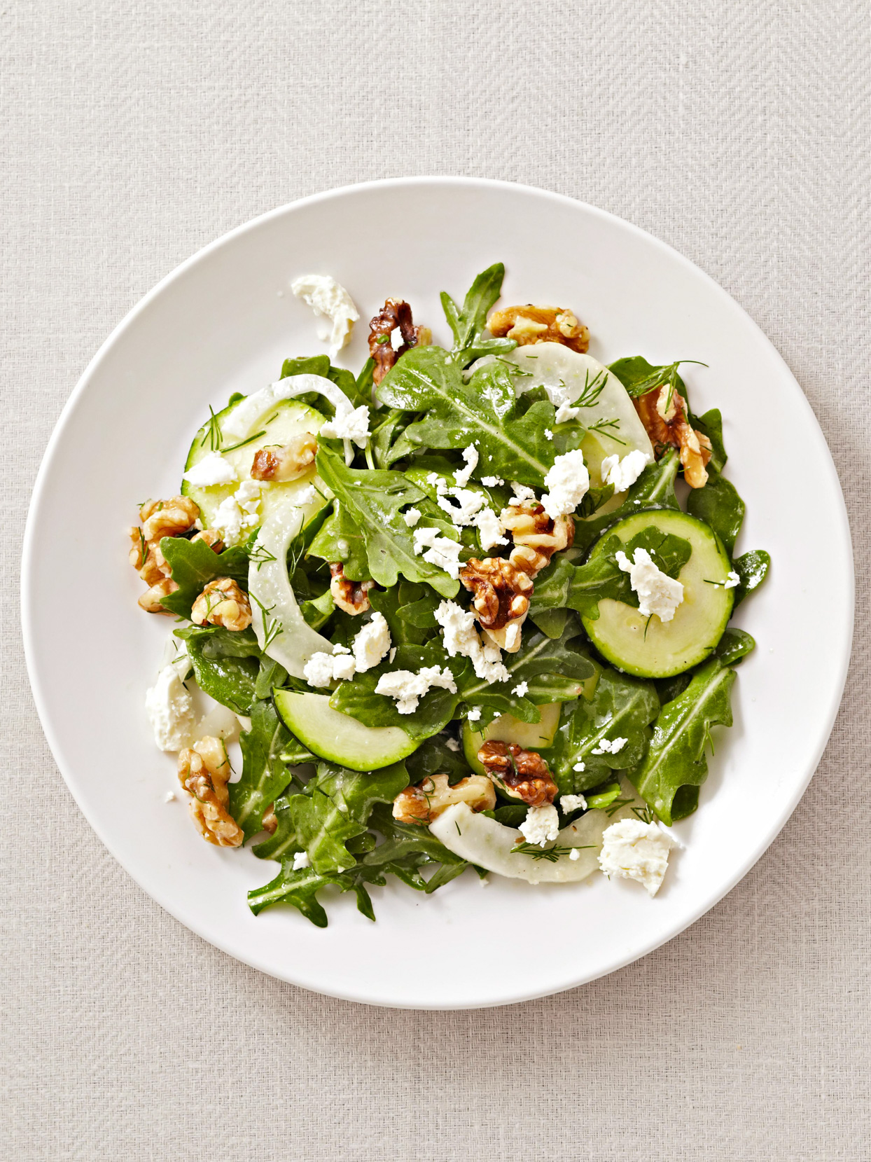 Shaved Fennel Salad with Dill, Arugula, and Walnuts