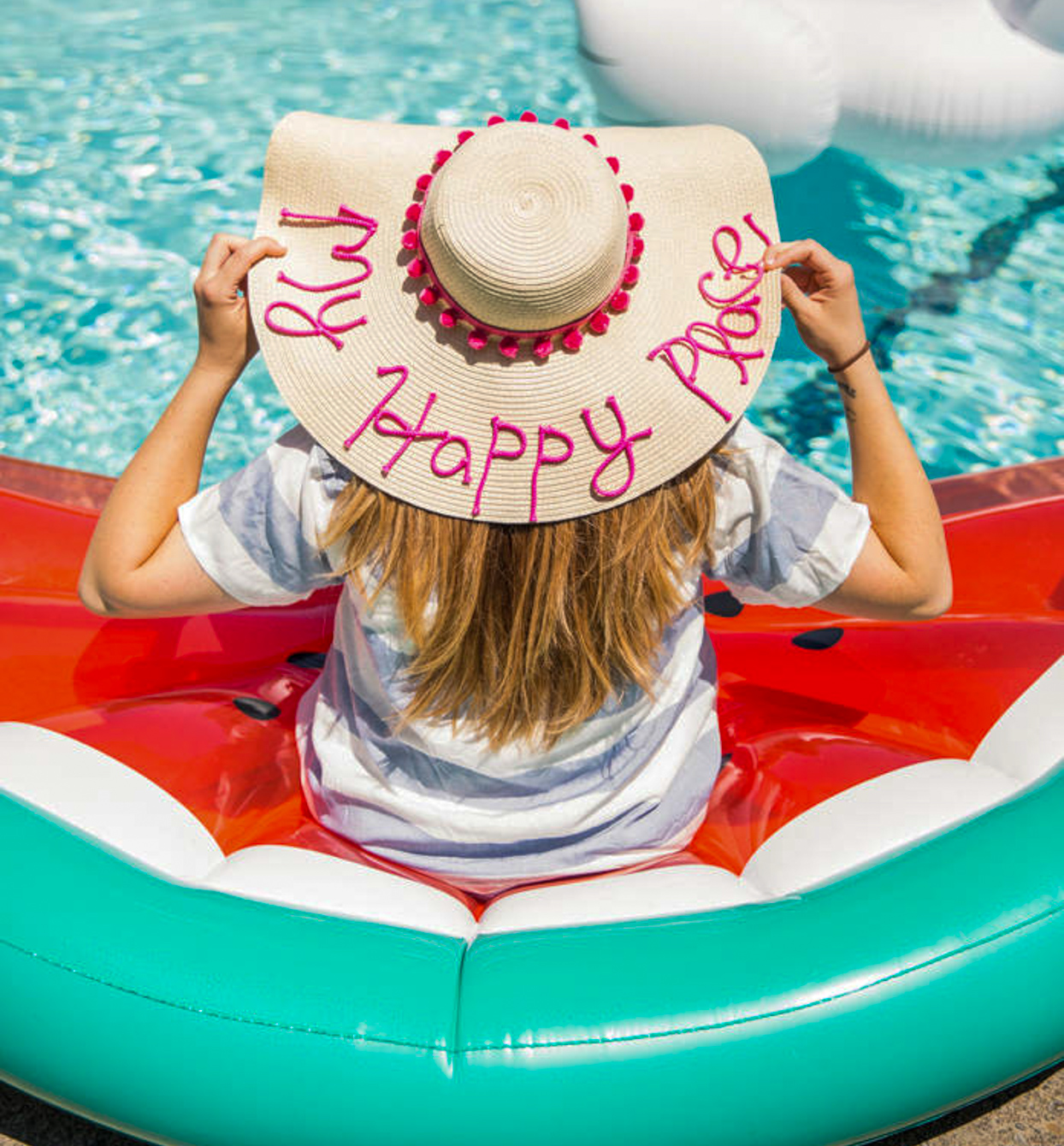personalized straw hat pool