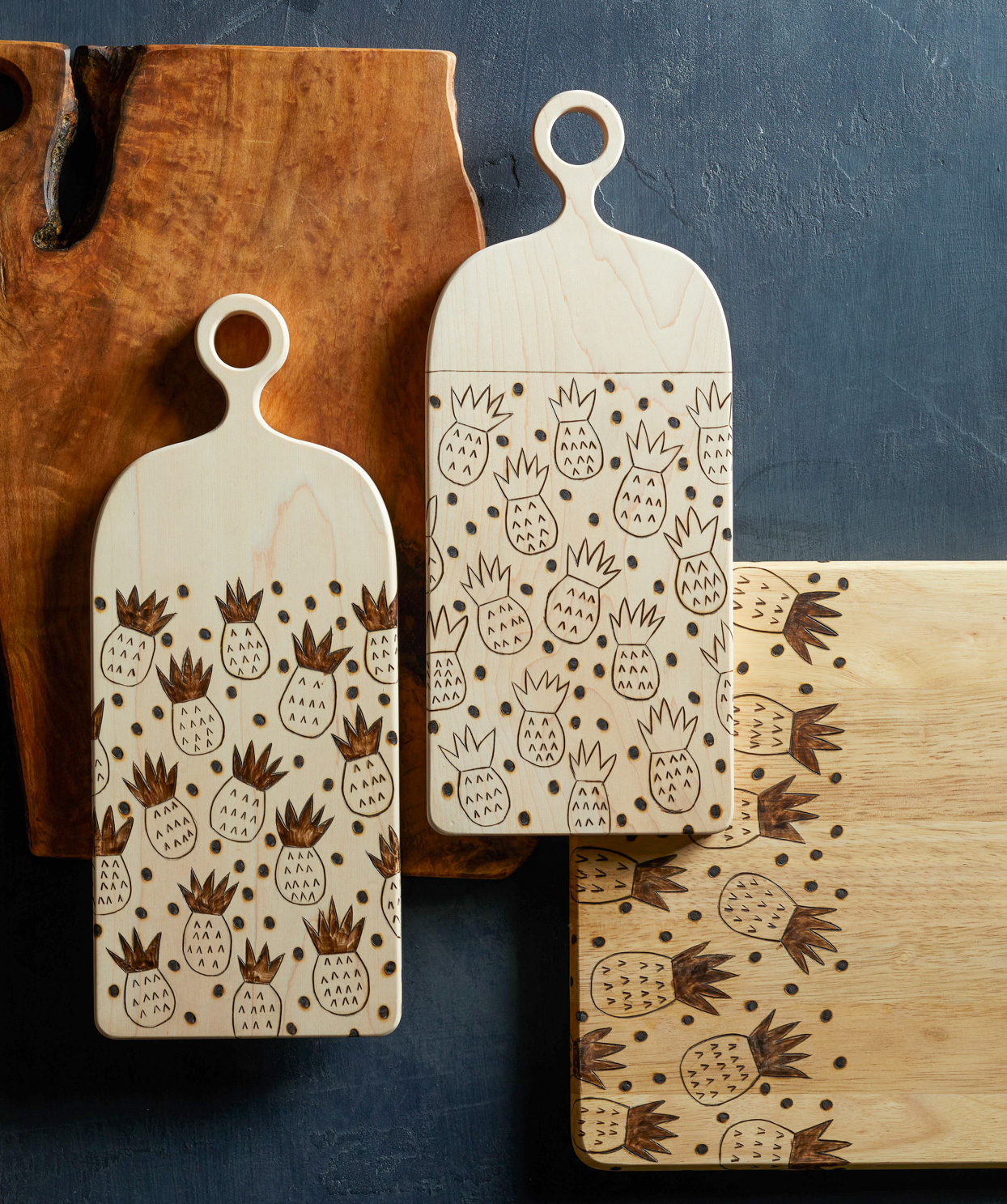 pineapple patterned carved wooden cutting boards