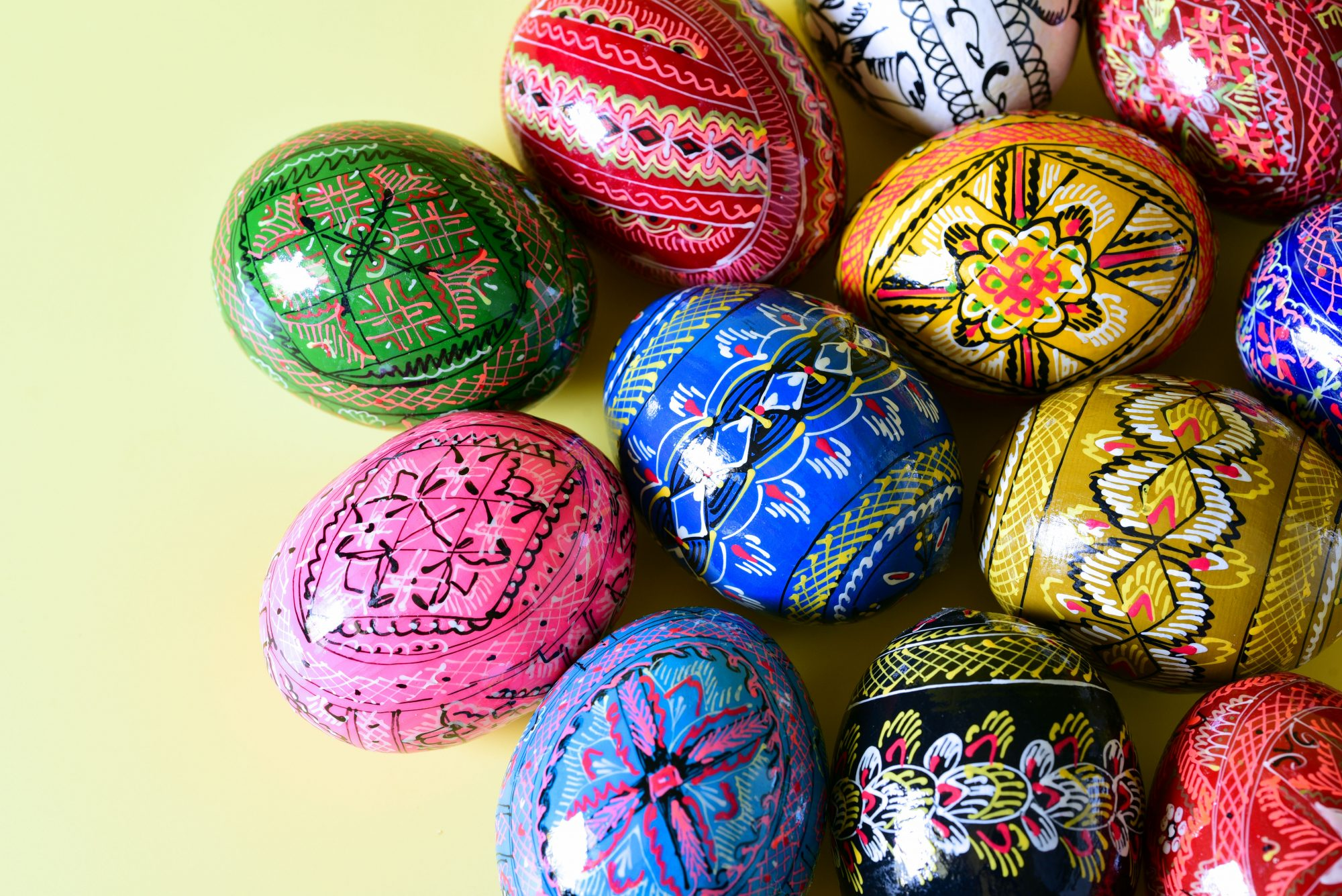 colorful painted wood eggs