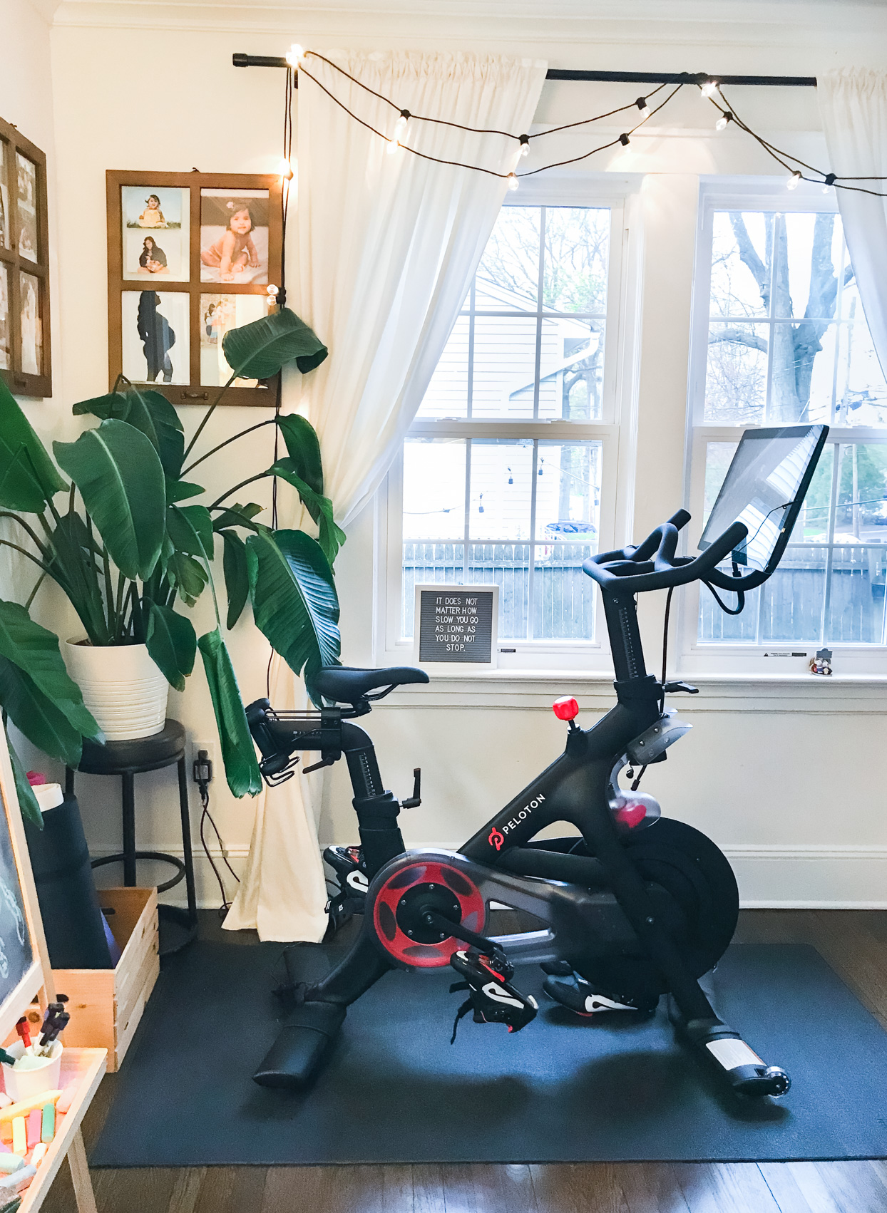 home gym in corner of room near window