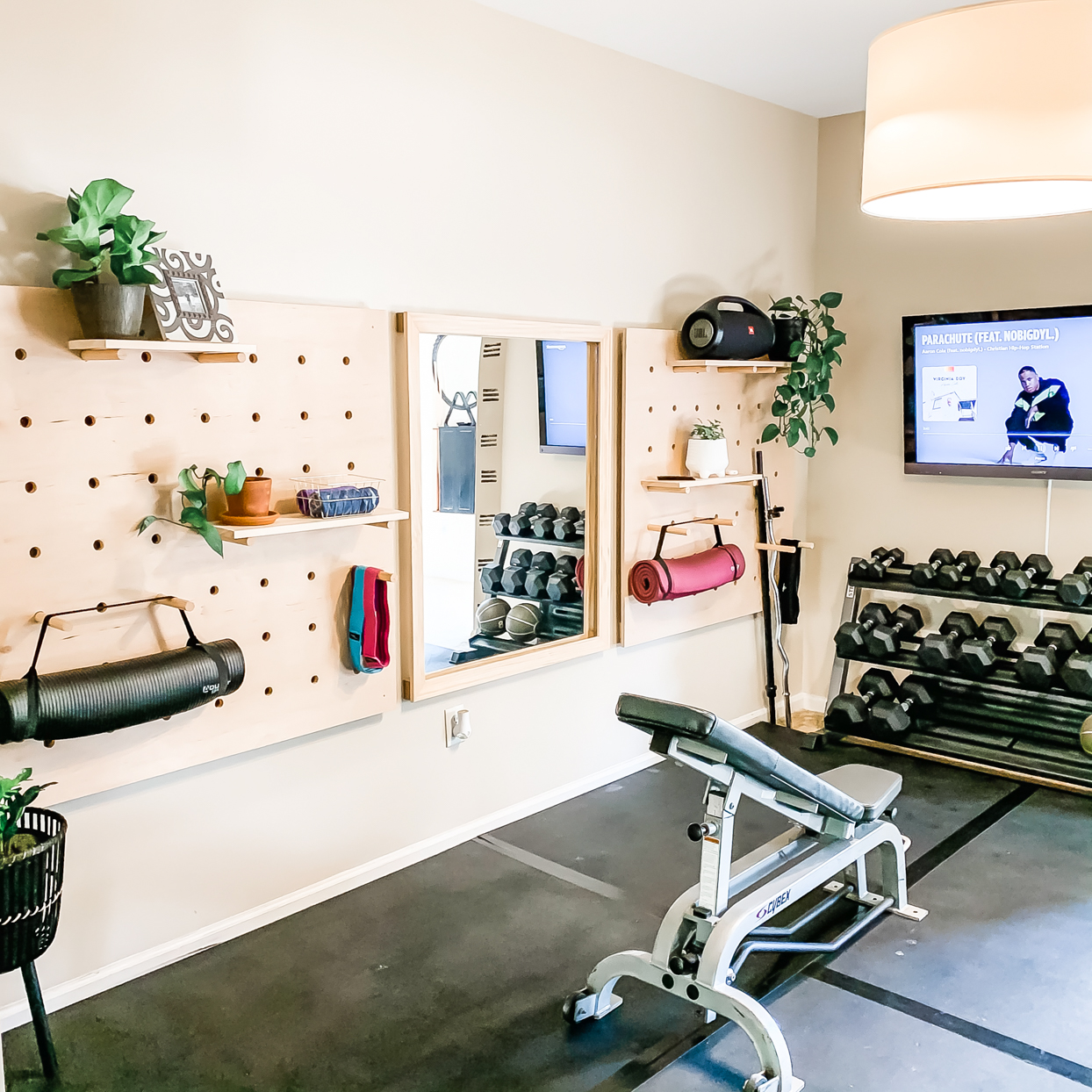 home gym with weights and tv