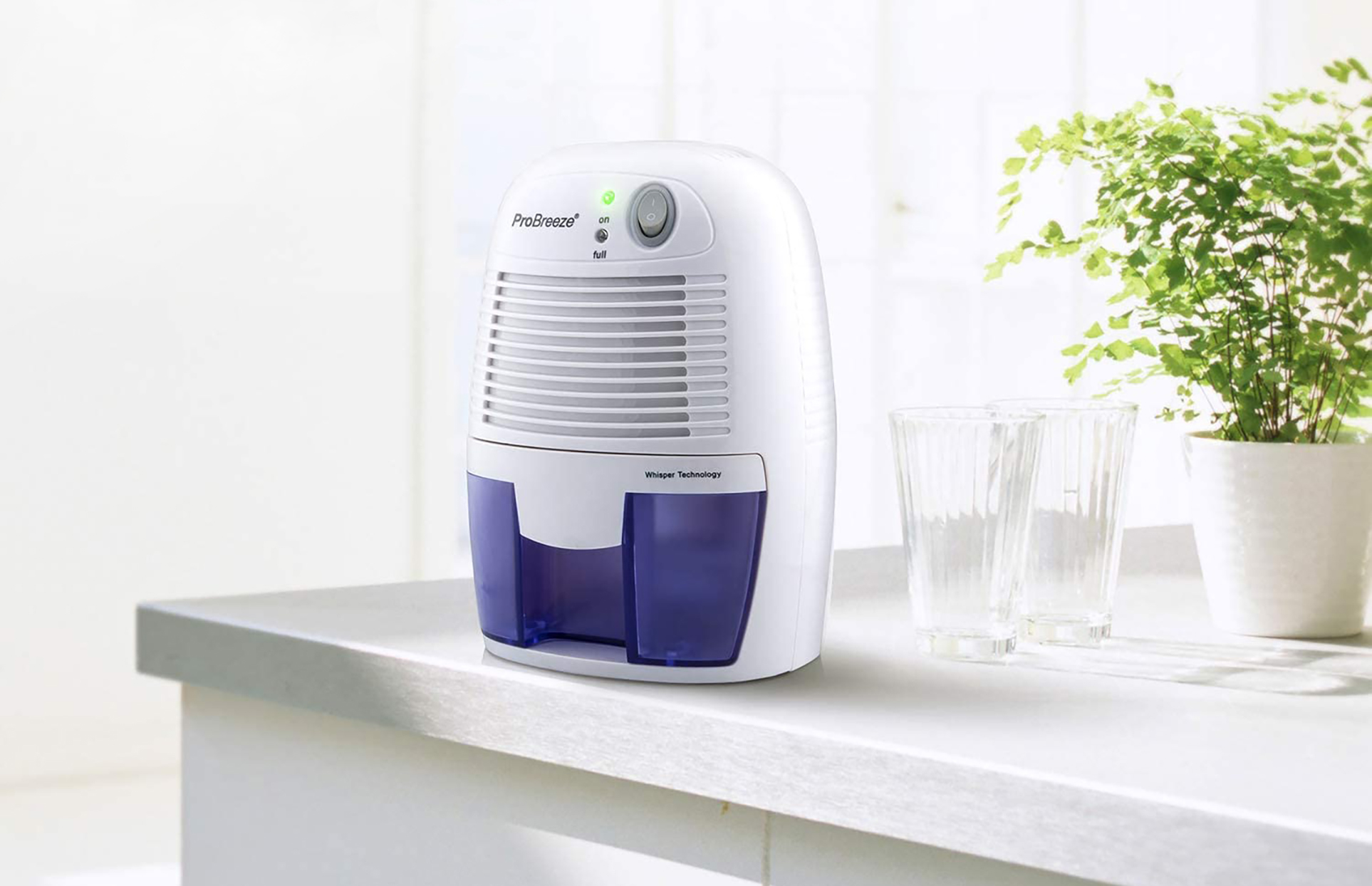 small dehumidifier on kitchen counter